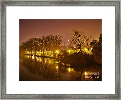 Kamm Island By Lamp Post Lights With Moonrise    Autumn      Indiana    Framed Print by Rory Cubel