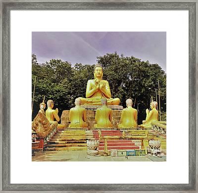 Kampong Cham - Buddha Prayers Framed Print by Linda Parker