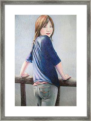 Framed Print featuring the drawing Kanae In Jeans by Tim Ernst