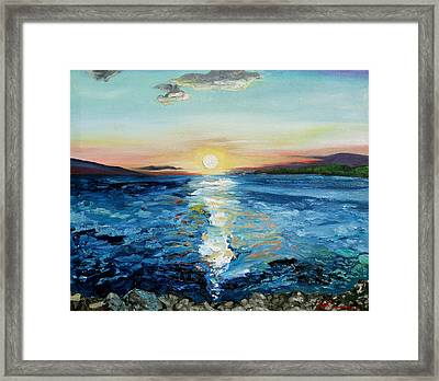 Kanaio Sunset / Between The Split Framed Print by Joseph Demaree
