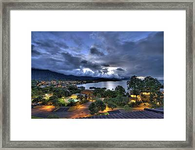 Kaneohe Bay Night Hdr Framed Print by Dan McManus