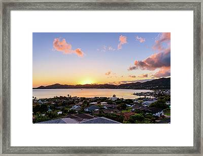 Kaneohe Bay Sunrise 1 Framed Print