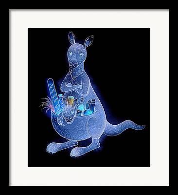 Kangaroo Animals Australia House Jumping Food Framed Prints