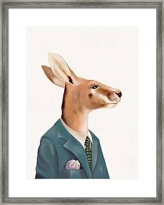 Kangaroo Framed Print by Animal Crew