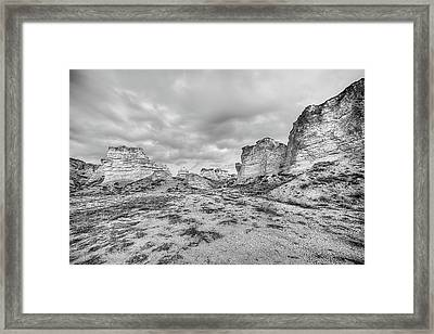 Kansas Badlands Black And White Framed Print