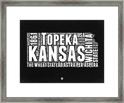 Kansas Black And White Word Cloud Map Framed Print by Naxart Studio