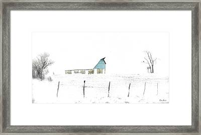 Kansas Blue Barn In Frozen Fog Framed Print