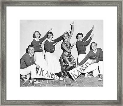 Kansas Cheerleader Squad Framed Print by Irving L. Antler