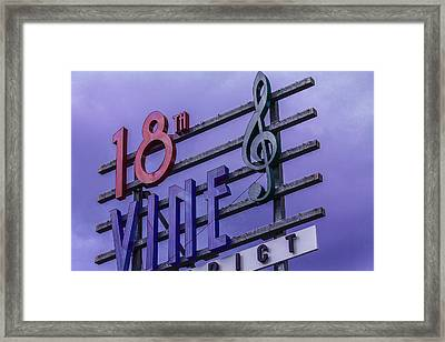 Kansas City 18th And Vine Sign Framed Print