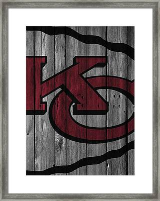 Kansas City Chiefs Wood Fence Framed Print
