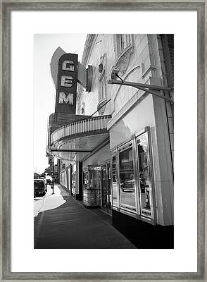 Framed Print featuring the photograph Kansas City - Gem Theater 2 Bw  by Frank Romeo