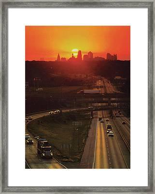 Kansas City I 70 Sunset Framed Print by Don Wolf