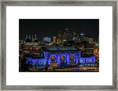 Kansas City In Royal Blue Framed Print