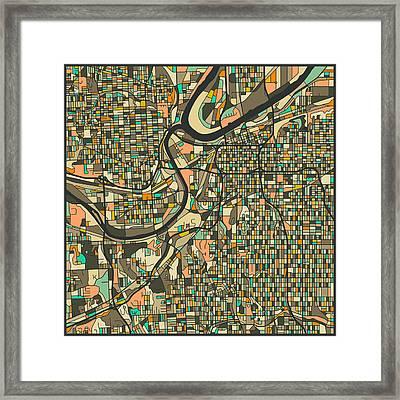 Kansas City Map 2 Framed Print