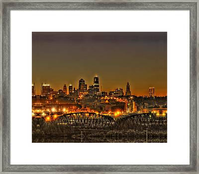 Kansas City Missouri At Dusk Framed Print by Don Wolf