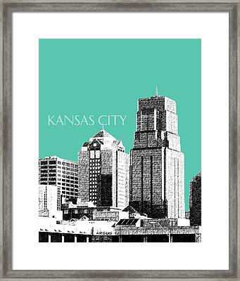 Kansas City Skyline 1 - Teal Framed Print
