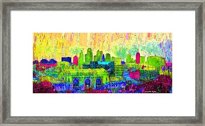Kansas City Skyline 202 - Da Framed Print