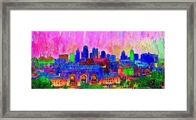 Kansas City Skyline 205 - Da Framed Print