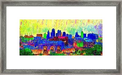Kansas City Skyline 208 - Pa Framed Print