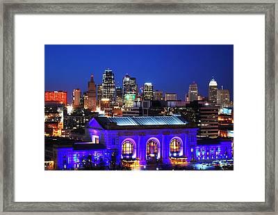 Kansas City Skyline At Night Framed Print