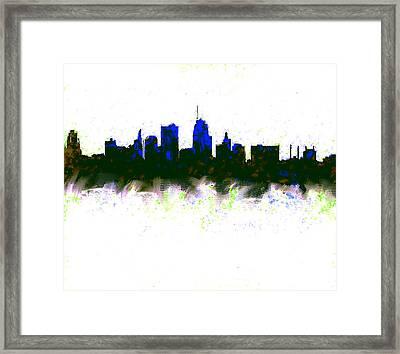 Kansas City Skyline Blue  Framed Print by Enki Art