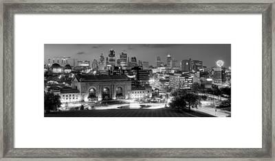 Kansas City Skyline Bw Framed Print
