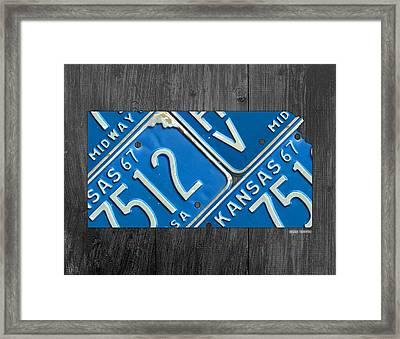 Kansas License Plate Map State Art Midway Usa Framed Print
