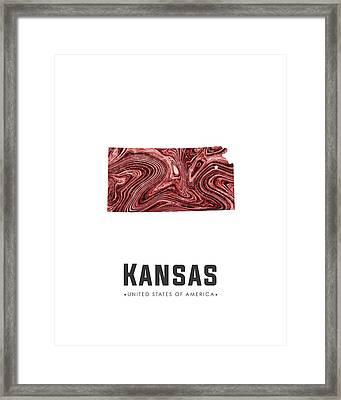 Kansas Map Art Abstract In Deep Red Framed Print