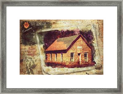 Kansas Old Stone Schoolhouse Framed Print