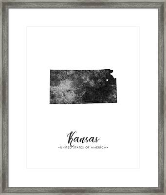 Kansas State Map Art - Grunge Silhouette Framed Print