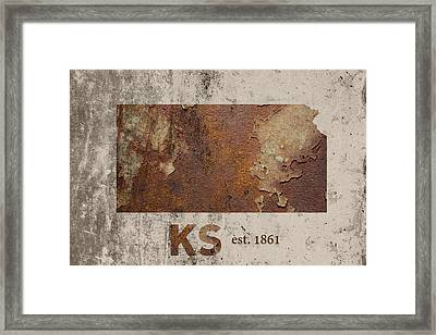 Kansas State Map Industrial Rusted Metal On Cement Wall With Founding Date Series 040 Framed Print by Design Turnpike
