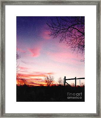 Kansas Sunrise With Fence Framed Print
