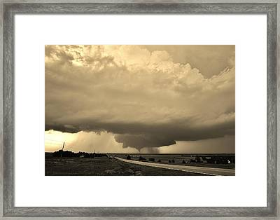 Framed Print featuring the photograph Kansas Twister - Sepia by Ed Sweeney
