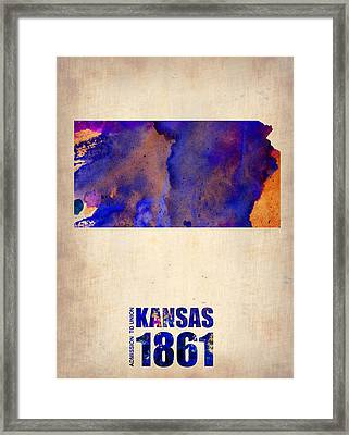 Kansas Watercolor Map Framed Print