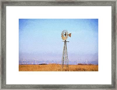 Framed Print featuring the digital art Kansas Windmills by JC Findley