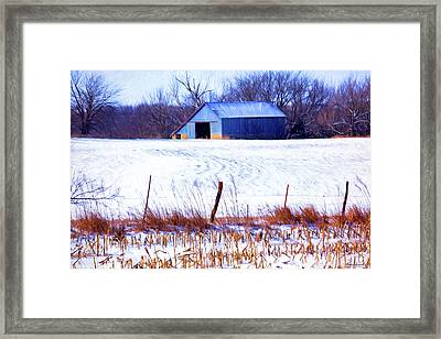 Kansas Winter Field Barn 1 Framed Print