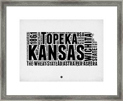 Kansas Word Cloud Map 2 Framed Print by Naxart Studio