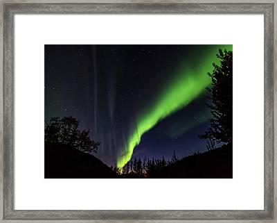 Kantishna Northern Lights In Denali National Park Framed Print by Brenda Jacobs