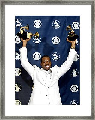 Kanye West In The Press Room For 47th Framed Print by Everett