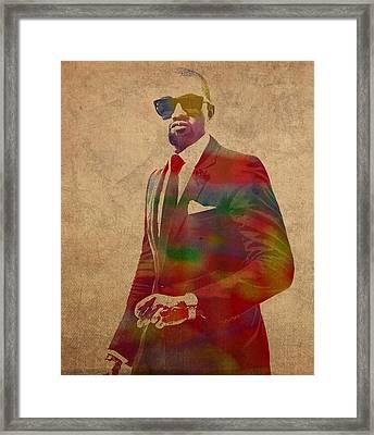Kanye West Watercolor Portrait Framed Print