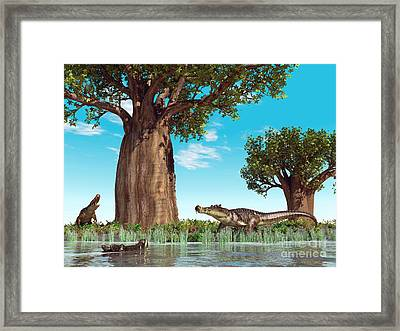 Kaprosuchus Crocodyliforms Framed Print by Walter Myers