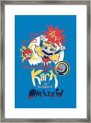 Kara Vs The Forces Of Darkseid Framed Print by Little Black Heart
