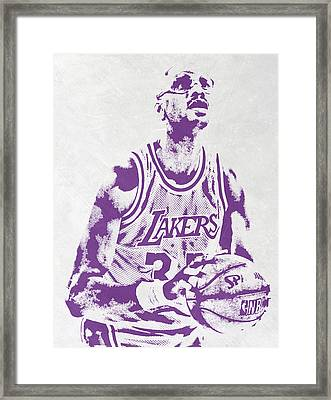 Kareem Abdul Jabbar Los Angeles Lakers Pixel Art Framed Print