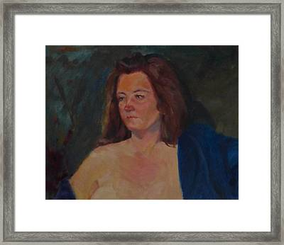 Karen In Blue Robe Framed Print by Irena Jablonski