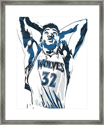 Karl Anthony Towns Minnesota Timberwolves Pixel Art Framed Print