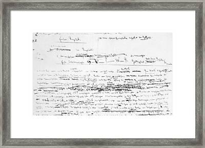 Karl Marxs Manuscript For Das Kapital Framed Print