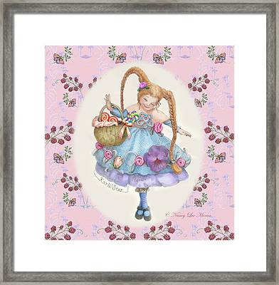 Karli Star With Butterflies And Raspberries In Pink Framed Print