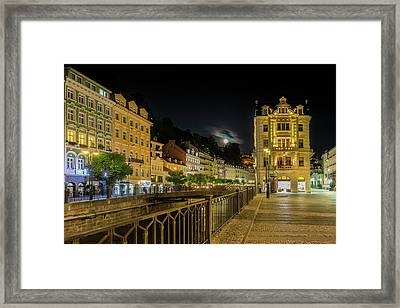 Karlovy Vary Tepla Riverside At Full Moon Framed Print