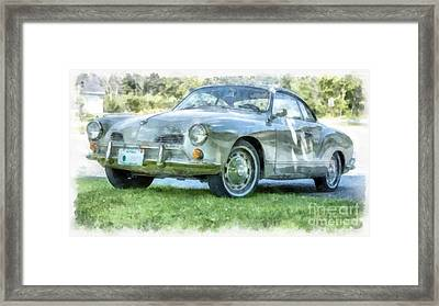 Karmann Ghaia Vintage Car Watercolor Framed Print by Edward Fielding
