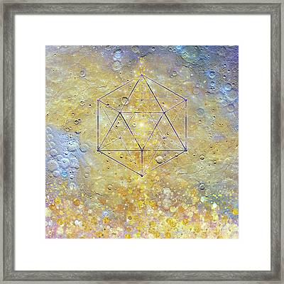 Karmic Evolution, Dreams, Fantasy, Moon, Space, Geometry Framed Print by Tina Lavoie
